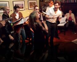 Hand Jive 'o clock. (Keegan Cassady, James Flanagan, Emily Sucher, Rebecca Speas, Christian Sullivan, Brendan Edward Kennedy, Erica Smith) <em>Much Abrew About Nothing</em>. Photo by:&nbsp;Shakespeare in the Pub