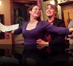 Mind the iceberg, though. (Nicola Collett, Amber Gibson) <em>Valentine's Gay</em>. Photo by: Shakespeare in the Pub