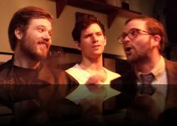Oh yeah, well NOW who's the ass? (Erik Harrison, Brendan Edward Kennedy, Connor Hogan) <em>Much Abrew About Nothing</em>. Photo by:&nbsp;Shakespeare in the Pub