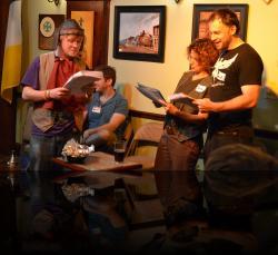 Osric gots a little proposition for Horatio and Hamlet. (Karen Beriss, Seth Rosenke, Graham Pilato) <em>Hamlet</em>