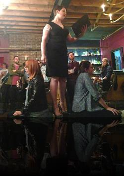 "Claudia, speechifying. (Emily Karol, Erica Smith, Julia Williams) <em>Hanlet</em>. Photo by:&nbsp;<a href=""https://www.facebook.com/sarah.jedrey"" target=""_blank"">Sarah Jedrey</a>"