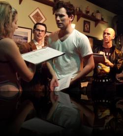 Claudio's man-feelings run out of control. Again. (Emily Sucher, James Flanagan, Brendan Edward Kennedy, Keegan Cassady) <em>Much Abrew About Nothing</em>. Photo by:&nbsp;Shakespeare in the Pub