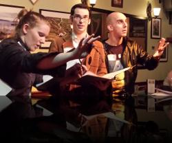 The clergy always have the best harebrained schemes. (Rebecca Speas, James Flanagan, Keegan Cassady) <em>Much Abrew About Nothing</em>. Photo by:&nbsp;Shakespeare in the Pub