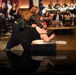 "Laertes is not to be fucked with. (Kelsey Meiklejohn, Hannah Day Sweet) <em>Hanlet</em>. Photo by:&nbsp;<a href=""https://www.facebook.com/kevin.hollenbeck.77"" target=""_blank"">Kevin Hollenbeck</a>"