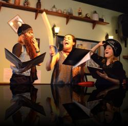 """It must be made clear to the audience that we do no harm with our swords. Audiences are dumb. (Emily Karol, Francesca Chilcote, Emily Sucher) <em>A Midsummer Night&#039;s Dream</em>. Photo by:&nbsp;<a href=""""https://www.facebook.com/kevin.hollenbeck.77"""" target=""""_blank"""">Kevin Hollenbeck</a>"""
