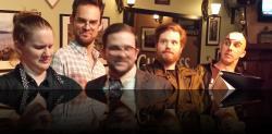 Dogblurry. (Rebecca Speas, Julian Oquendo, Connor Hogan, Erik Harrison, Keegan Cassady) <em>Much Abrew About Nothing</em>. Photo by:&nbsp;Shakespeare in the Pub