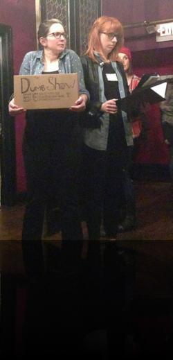"The most Shakespeare in the Pub photo ever taken. (Julia Williams, Emily Karol) <em>Hanlet</em>. Photo by:&nbsp;<a href=""https://www.facebook.com/sarah.jedrey"" target=""_blank"">Sarah Jedrey</a>"