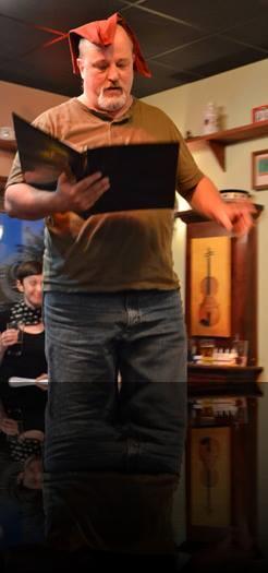 Falstaff crowns himself king of the pub. (Bill Aitken) <em>Henry IV, Part 1</em>