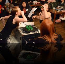 """This is how we duel in Matriarchy Denmark. (Kelsey Meiklejohn, Tamieka Chavis, Hannah Day Sweet, Emily Karol) <em>Hanlet</em>. Photo by:&nbsp;<a href=""""https://www.facebook.com/kevin.hollenbeck.77"""" target=""""_blank"""">Kevin Hollenbeck</a>"""