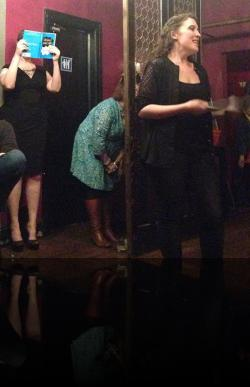 """Claudia and Polonius, hiding badly, as is tradition. (Erica Smith, Karen Lange, Hannah Day Sweet) <em>Hanlet</em>. Photo by:&nbsp;<a href=""""https://www.facebook.com/sarah.jedrey"""" target=""""_blank"""">Sarah Jedrey</a>"""