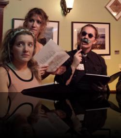 I did who, now? (Emily Sucher, Amber Gibson, Rebecca Speas) <em>Much Abrew About Nothing</em>. Photo by:&nbsp;Shakespeare in the Pub