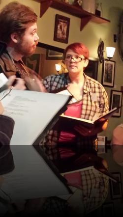 Borrachio gets the first, second, *and* third degrees from Verges. (Erik Harrison, Erica Smith) <em>Much Abrew About Nothing</em>. Photo by:&nbsp;Shakespeare in the Pub