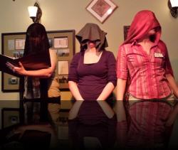 Au, Ag, Pb. (Erica Smith, Nicola Collett, Aubri O'Connor) <em>Valentine&#039;s Gay</em>. Photo by:&nbsp;Shakespeare in the Pub