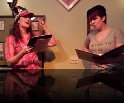 What are you... that's not even French. (Aubri O'Connor, Erica Smith) <em>Valentine&#039;s Gay</em>. Photo by:&nbsp;Shakespeare in the Pub
