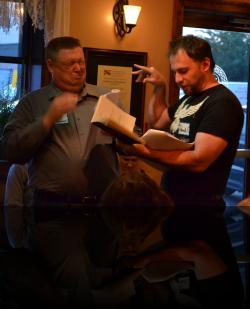 Hamlet goes full stooge on Polonius. (Brian H. Reynolds*, Graham Pilato. Brian appears courtesy of Actors' Equity Association) <em>Hamlet</em>