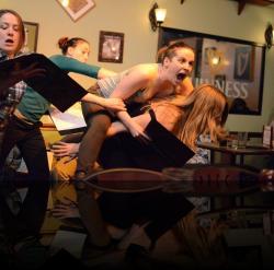 "Tiny woman, big rage. (Mary Myers, Blythe Coons, Jill Tighe, Angela Pirko) <em>A Midsummer Night&#039;s Dream</em>. Photo by:&nbsp;<a href=""https://www.facebook.com/kevin.hollenbeck.77"" target=""_blank"">Kevin Hollenbeck</a>"