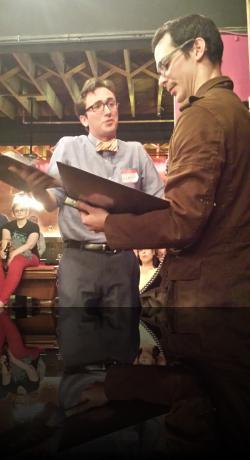 Lucio gives the Duke his best snivel. (Danny Cackley, James Flanagan) <em>Measure for Measure</em>