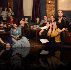 """Ear poison! (Julia Williams, Karen Lange, Emily Karol, Bri Manente, Hannah Day Sweet) <em>Hanlet</em>. Photo by:&nbsp;<a href=""""https://www.facebook.com/kevin.hollenbeck.77"""" target=""""_blank"""">Kevin Hollenbeck</a>"""